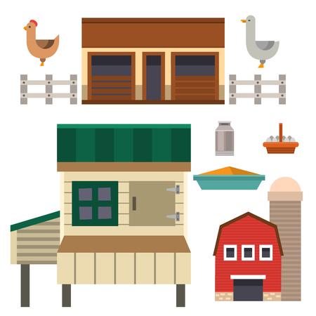 Granero al aire libre del alimento de la casa de la granja que construye el ejemplo limpio de los animales de la agricultura del prado limpio Foto de archivo - 80181116