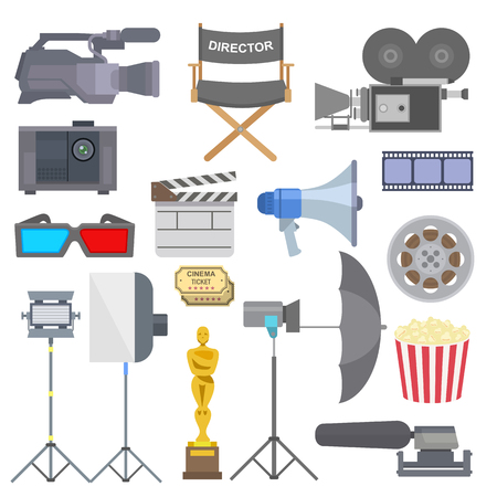 Cinema movie making tv show tools equipment symbols icons set illustration.