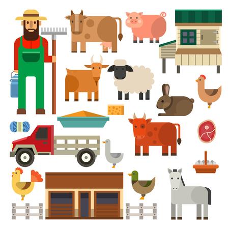 Farmer character man agriculture person profession rural gardener farm animals vector illustration.