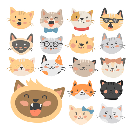 Cats heads illustration cute animal funny decorative characters feline domestic trendy pet drawn Imagens