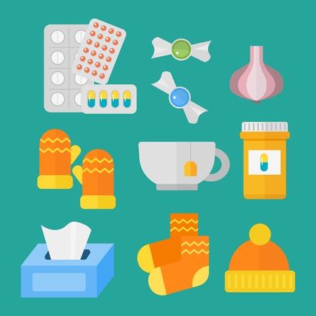 Influenza en koud themed design elementen in trendy flat design gezondheid medische ziekte