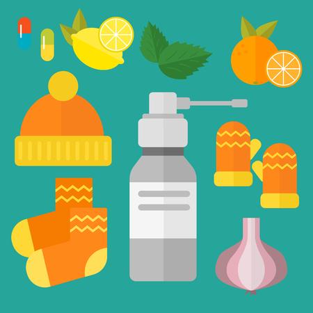 throat: Influenza and cold themed design elements in trendy flat design health medical disease vector