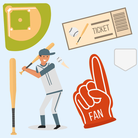 running: Cartoon baseball player icons batting vector design american game athlete sport league equipment