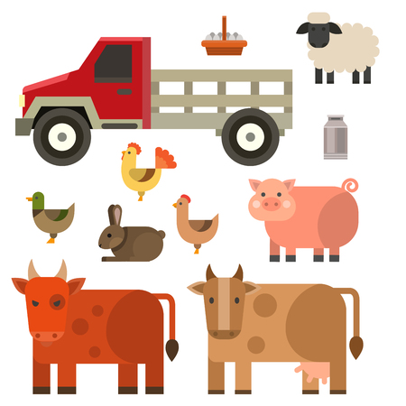 Farm icon vector illustration nature food harvesting grain agriculture different animals characters. Ilustração