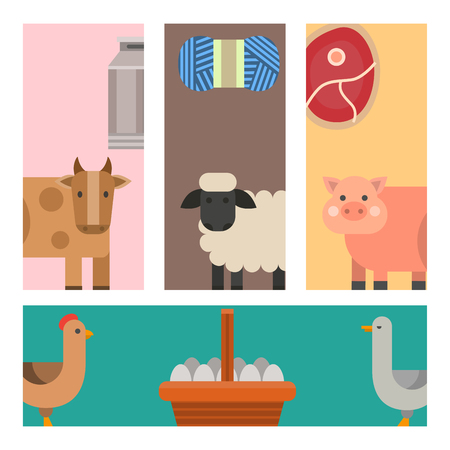 Farm cards vector illustration nature food harvesting grain agriculture different animals characters.