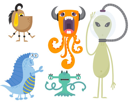 Funny cartoon monster cute alien character creature happy illustration devil colorful animal vector. 版權商用圖片 - 80318800