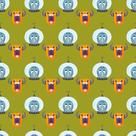 bacteria cartoon: Funny cartoon monster seamless pattern cute alien character creature illustration colorful animal vector.