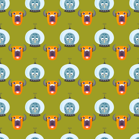 Funny cartoon monster seamless pattern cute alien character creature illustration colorful animal vector.