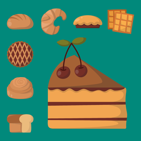 Cookie cakes isolated tasty snack delicious chocolate homemade pastry biscuit vector illustration Ilustração