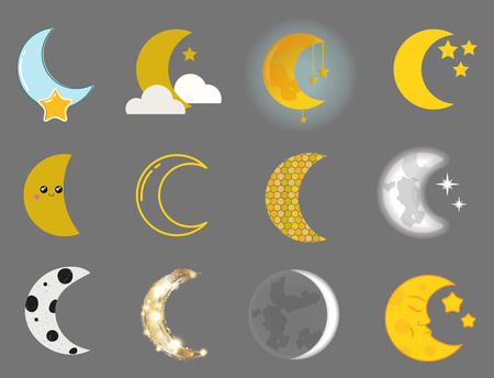 Different moon nature cosmos cycle satellite surface whole cycle from new star vector illustration.