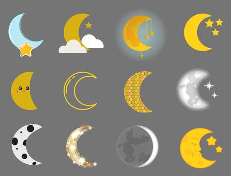 Verschiedene Mond Natur Kosmos Zyklus Satelliten Oberfläche ganze Zyklus von neuen Stern Vektor-Illustration. Standard-Bild - 80333662