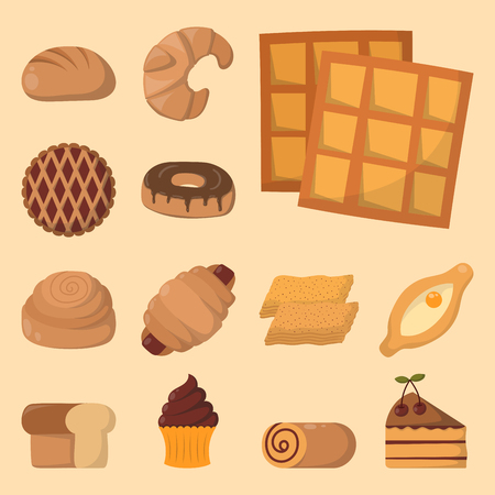 confection: Cookie cakes isolated tasty snack delicious chocolate homemade pastry biscuit vector illustration Illustration