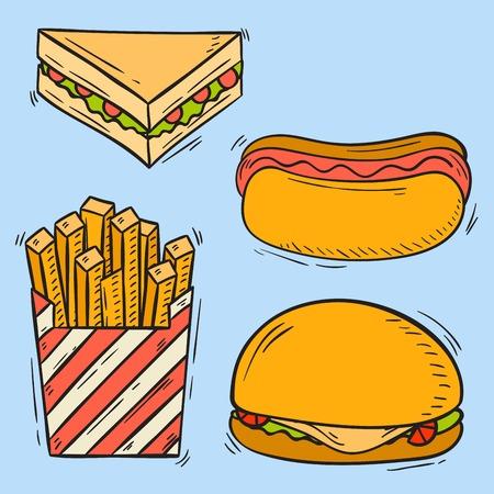 cheddar: Vector icons fast food hand drawn restaurant breakfast hamburger design kitchen unhealthy meal