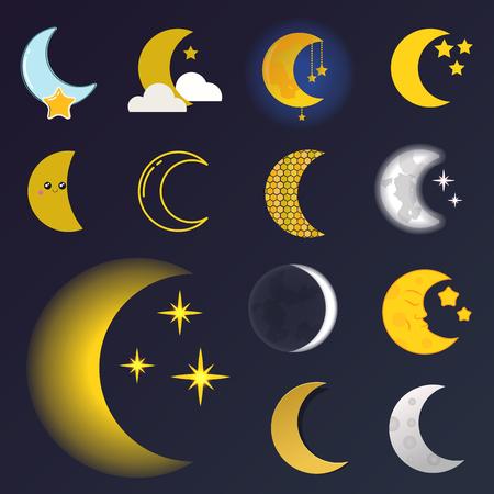 Verschiedene Mond Natur Kosmos Zyklus Satelliten Oberfläche ganze Zyklus von neuen Stern Vektor-Illustration. Standard-Bild - 80341808