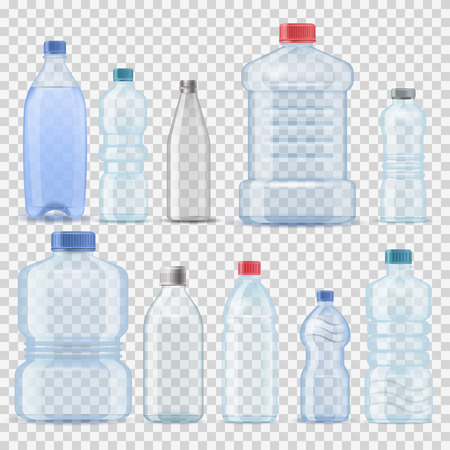 Transparent water plastic clean bottle 3d realistic container barrel gallon template set vector illustration company branding
