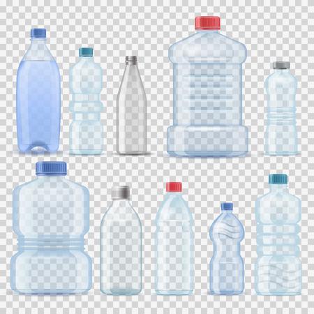 Transparante van het de flessen 3d realistische containervat van het water plastic schone fles malplaatje van de het gallonmalplaatje vastgestelde vectorillustratie het van letters voorzien Stock Illustratie