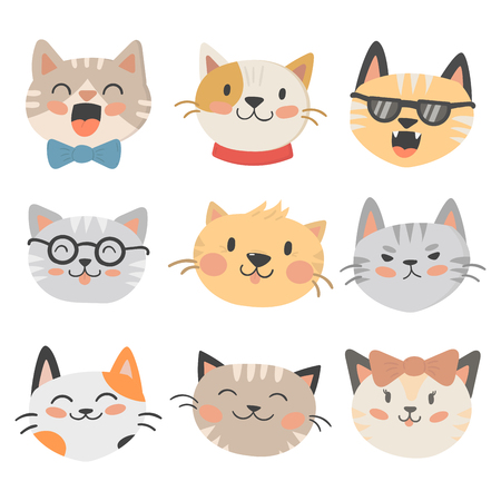 Cats heads vector illustration