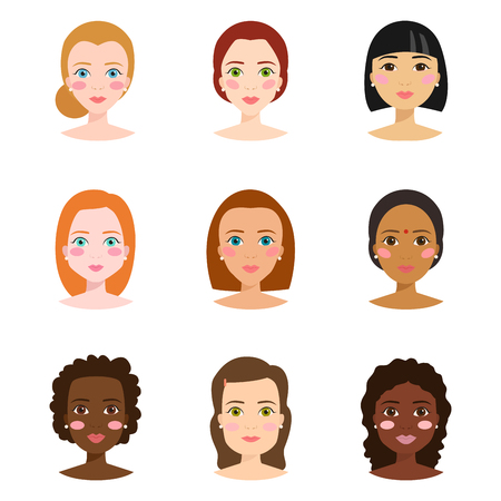 Set of different woman face types vector illustration Stock Photo
