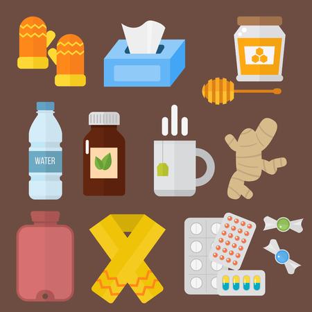 Influenza en koud themed designelementen