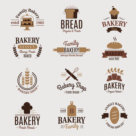 Bakery badge icon fashion modern style wheat vector label design element confectioner sweet-shop loaf and bread logo