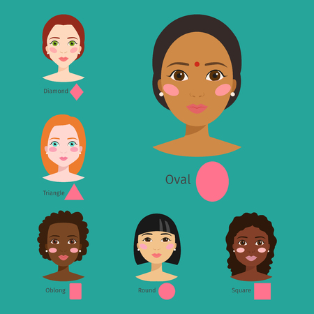 Set of different woman face types vector illustration character shapes girl makeup beautiful female Stock Photo