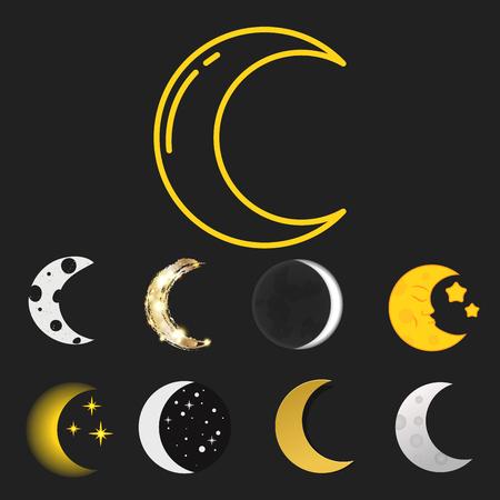Verschiedene Mond Natur Kosmos Zyklus Satelliten Oberfläche ganze Zyklus von neuen Stern Vektor-Illustration. Standard-Bild - 80510172