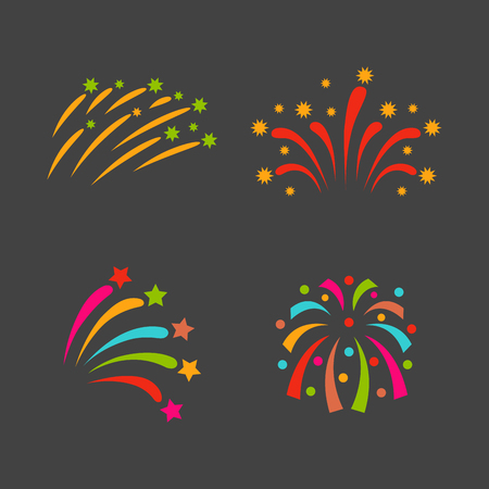 pyrotechnic: Firework vector illustration celebration holiday event night explosion light festive party