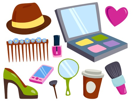 cleanliness: Makeup icons perfume mascara care brushes comb faced eyeshadow glamour female accessory vector. Stock Photo