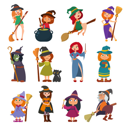 Cute little witch hag harridan vixen with broom cartoon magic Halloween young girls character costume hat vector illustration. Stock Photo