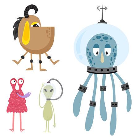 Grappig cartoon monster schattig vreemd karakter schepsel gelukkig illustratie duivel kleurrijke dierlijke vector. Stockfoto