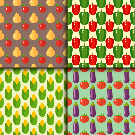 Vegetables food cellulose vector set peppers tomatoes porridge healthy food seamless pattern Banco de Imagens - 80436479