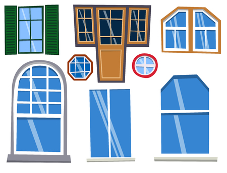 Different types house windows elements flat style frames construction decoration apartment vector illustration. Illustration