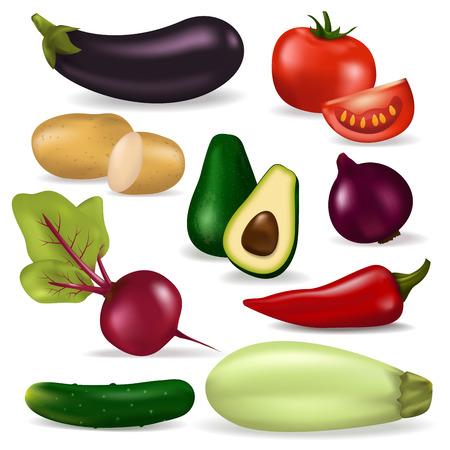 リアルな 3 d 野菜菜食自然有機食品ベクトル新鮮な菜食主義者の健康農業のイラスト。  イラスト・ベクター素材
