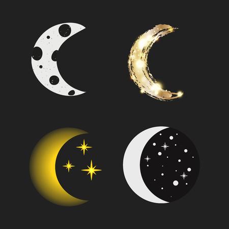 Verschiedene Mond Natur Kosmos Zyklus Satelliten Oberfläche ganze Zyklus von neuen Stern Vektor-Illustration. Standard-Bild - 80442658