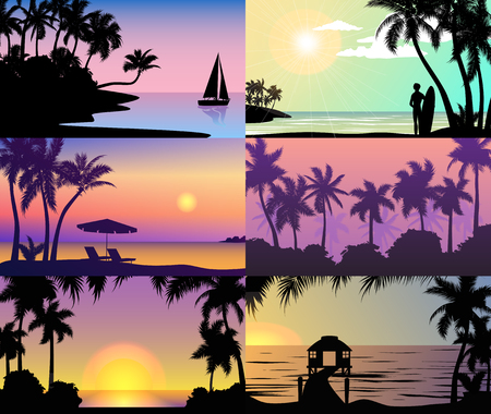 Summer night time sunset vacation nature tropical palm trees silhouette beach landscape of paradise island holidays vector illustration. Illustration