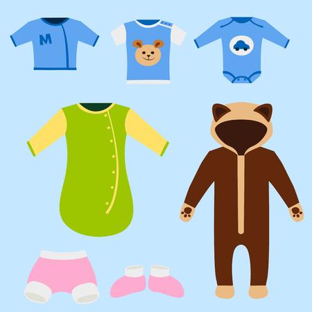 Vector ropa de bebé conjunto de iconos de diseño textil de tela casual colorido vestido niño desgaste de ropa ilustración.