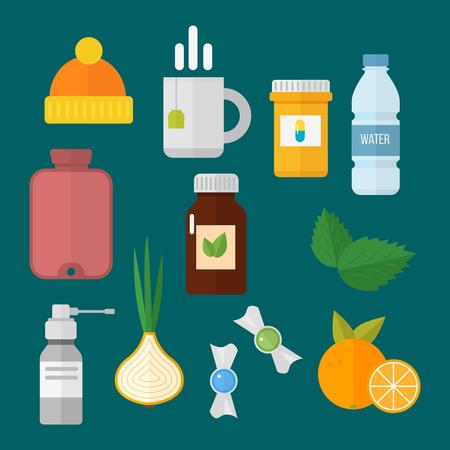 Influenza en koude thema-ontwerpelementen in trendy platte ontwerp gezondheid medische ziekte vector Stockfoto - 80548999