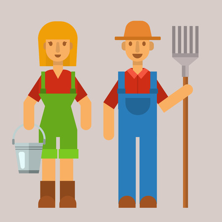 Garden people character agriculture farm harvest man and woman organic outdoor work vector illustration Illustration