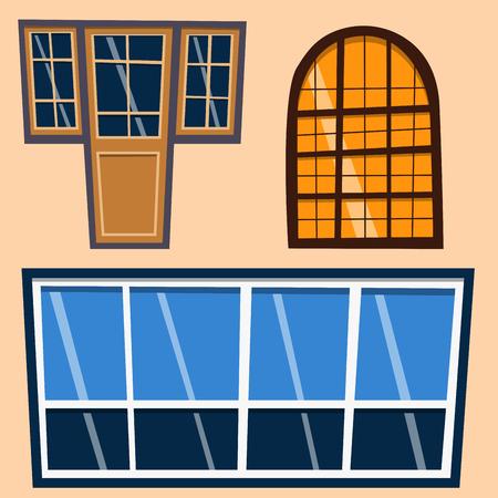 Different types house windows elements flat style frames construction decoration apartment vector illustration. Illustration