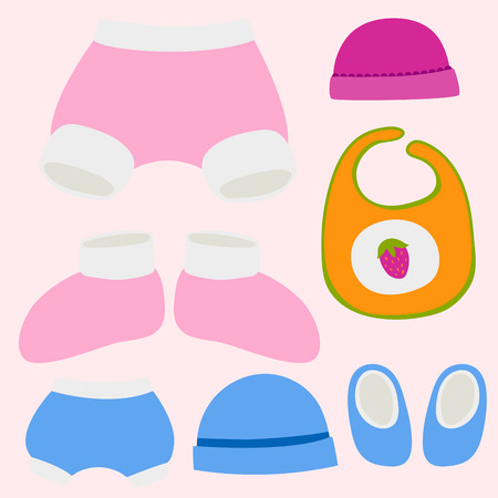 A vector baby clothes icon set design textile casual fabric colorful dress child garment wear illustration.