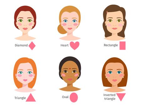 Satz von verschiedenen Frau Gesicht Arten Vektor-Illustration Zeichen Formen Mädchen Make-up weiblich Standard-Bild - 80503786