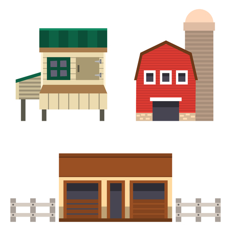 Farm house food outdoor barn building clean meadow natural agriculture animals vector illustration.