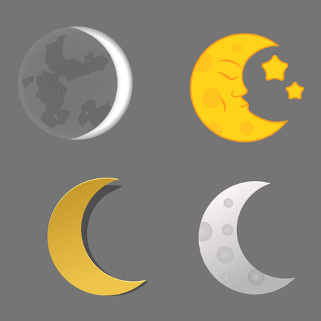Verschiedene Mond Natur Kosmos Zyklus Satelliten Oberfläche ganze Zyklus von neuen Stern Vektor-Illustration. Standard-Bild - 80557825