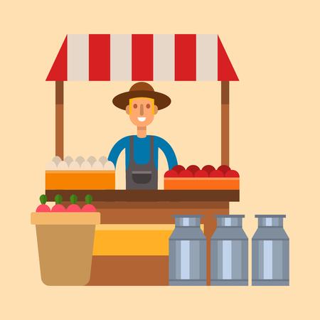 Farmer character man agriculture shop kiosk profession rural gardener worker people vector illustration.