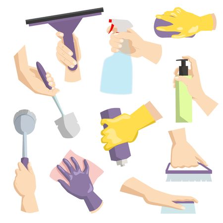 Cleaning tools in housewife hand perfect for housework packaging and domestic hygiene kitchenware cleaning service concept vector illustration.