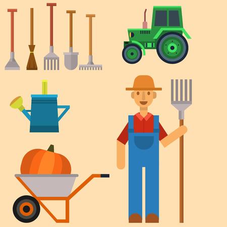 ベクトル ファーム収穫手用具と農業および園芸農家の男のための機器  イラスト・ベクター素材