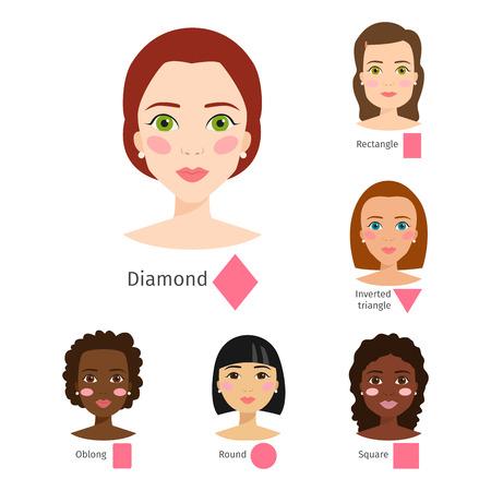 Set of different woman face types vector illustration character shapes girl makeup beautiful female Ilustração