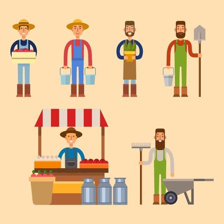 Farmer character man vector illustration.