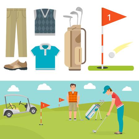 Set of stylized golf icons