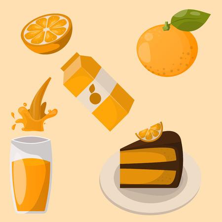 Ripe orange products Illusztráció